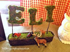 moss letters are perfect for hundred acre wood or wood theme baby shower