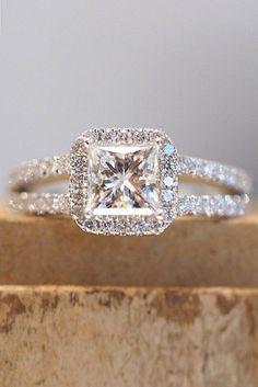 18 Breathtaking Princess Cut Engagement Rings ❤ See more: http://www.weddingforward.com/princess-cut-engagement-rings/ #wedding #engagement #rings