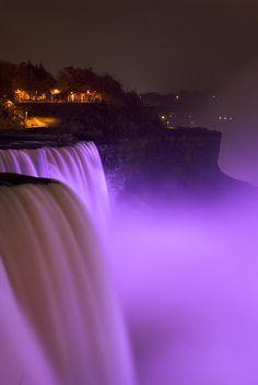 Niagara falls purple for fibromyalgia awareness.