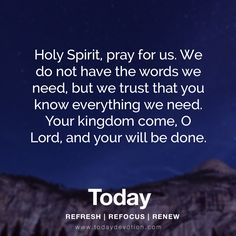 Holy Spirit, pray for us. We do not have the words we need, but we trust that you know everything we need. Your kingdom come, O Lord, and your will be done.