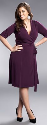 1940s Style Plus Size Plum Legacy Wrap Dress in Plus Sizes $74.00