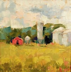 """Little Red Barn by Carol Maguire Oil ~ 16"""" x 16"""""""