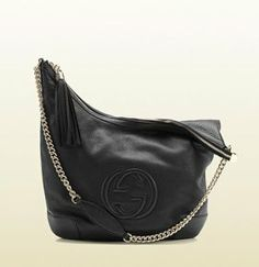 Soho Leather Chain-Strap Shoulder Bag, Black by Gucci at Neiman Marcus. Santa is bringing me this for Christmas.I hope! Cute Handbags, Best Handbags, How To Make Handbags, Gucci Handbags, Leather Handbags, Designer Handbags, Stylish Handbags, Gucci Purses, Designer Bags