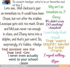 """""""I regret nothing."""" -Piper. Tehe! // Percy Jackson funny"""