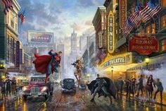"Together, Batman, Superman and Wonder Woman™ form an epic alliance of DC Super Heroes, often referred to as ""The World's Finest Trinity"". Individually, they are some of the most powerful characters in the comic book universe, and united, they are virtually unstoppable. Fans around the globe have long celebrated their bond and their legendary stories. The Thomas Kinkade Studios is proud to present Batman, Superman, and Wonder Woman: The Trinity I, our first Limited Edition Art release paying…"