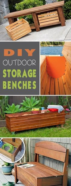 DIY Outdoor Storage Benches Tons of great ideas & tutorials! The post DIY Outdoor Storage Benches Tons of great ideas & tutorials! Outdoor Furniture Bench, Diy Storage Furniture, Diy Wood Bench, Diy Storage Bench, Storage Ideas, Cheap Storage, Outside Storage Bench, Kitchen Storage, Furniture Ideas