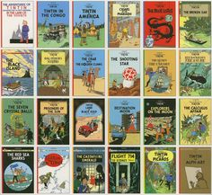 The Adventures of Tintin. Click on the covers to see which titles are available at the Otis Library.