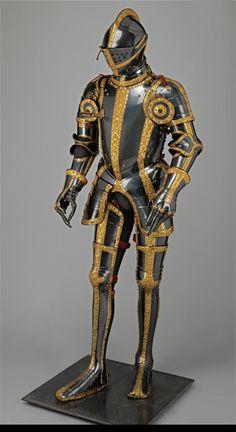 HARNISCHGARNITUR: REITERHARNISCH (KÜRISS) DER BLAU-GOLDENEN GARNITUR datiert 1557 Besitzer: Kaiser Maximilian II., Sohn des Ferdinand I. von Habsburg Österreich