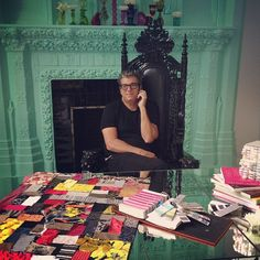 We love this picture of Andrew Rosen sitting at Stacey Bendet's desk! @alice + olivia