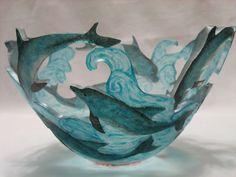 Dolphins: Ann Alderson Biba: Art Glass Bowl - Artful Home Candle holder Fused Glass Bowl, Glass Vase, Slumped Glass, Dolphin Art, Dolphin Photos, Image Blog, Colored Glass, Dolphins, Stained Glass