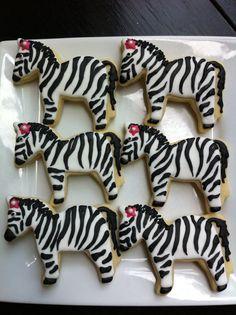 Zebra Animals Zoo Animal Zebra Print 1 dozen decorated cookies $36.99 The Talented Cookie