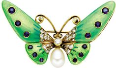 Sapphire, Diamond, Cultured Pearl, Enamel, Gold Brooch. The brooch, designed as a butterfly, features round-cut sapphires ...