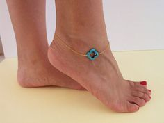 Turquoise Anklet Gold Clover Ankle Bracelet by VasiaAccessories
