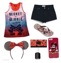 """Mickey and Minnie"" by rachelames21 ❤ liked on Polyvore featuring Disney, MANGO, Havaianas, Torrid and Essie"