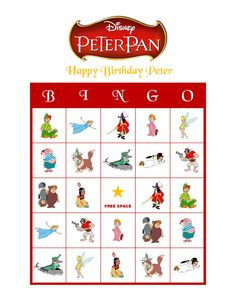 Personalized Disney's Peter Pan Birthday Party Game Activity Bingo Cards Delivered by Email