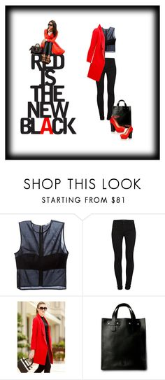 """red is the new black"" by smajicelma ❤ liked on Polyvore featuring T By Alexander Wang, J Brand and Aperlaï"