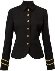 Women's Lauren by Ralph Lauren Ainee military style wool jacket, Black.  A stylish and classic wool jacket.