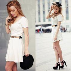 Paula L - H&M Hat, Famous Footwear Shoes - White dress