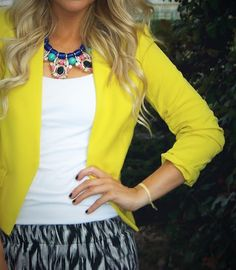 statement necklace, pattern, & a pop of yellow ;)