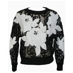 Floral Patch Lace Top In Black (715.580 VND) ❤ liked on Polyvore featuring tops, floral tops, lace top, floral lace top, floral print tops and lacy tops