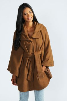 Elissa Oversized Belted Cape at boohoo.com