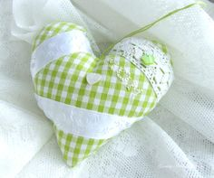Swedish cottage fabric heart padded lace  by GrannyHannasCottage, $14.00