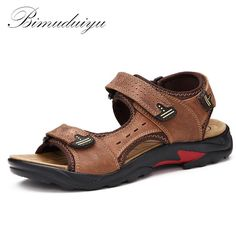 794dee16a1ecab BIMUDUIYU Top Quality Mens Sandals Leisure Genuine Leather Summer Cool  Light Weight Beach Casual Shoes Handmade Stitching-in Men s Sandals from  Shoes on ...