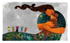Rafael Lopez plays with process in this gorgeous illustration of mother earth holding her child for a children's hospital program.