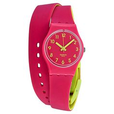 Swatch Originals Biko Roose Pink and Yellow Ladies Watch ($35) ❤ liked on Polyvore featuring jewelry, watches, swatch wrist watch, pink wrist watch, plastic watches, analog watches and pink dial watches