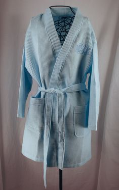 bea2817ed0 Personalized Spa Robe Waffle Weave Kimono Light Blue by Millie s Gifts