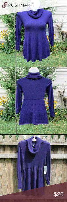 "Knit Tunic Top Dark purple soft stretchy tunic. Drape cowl, ribbed bodice. Measured flat. 18"" across bust. 28"" long. On 36"" x 31"" x 36"" mani. Cotton/Poly Daisy Fuentes Tops Tunics"