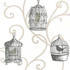 Arthouse Options Skylark Bird Cage Wallpaper Gold - Wallpaper from I Love Wallpaper UK Bird Wallpaper, Kitchen Wallpaper, Pattern Wallpaper, Wallpaper Ideas, Bird Cage Centerpiece, Shabby Chic, Skylark, Bird Silhouette, Bird Cages