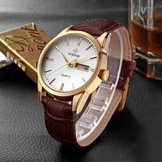 Zegarek męski WWOOR skórzany pasek klasyczny projekt kolory