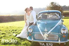 Turquoise Morris Minor Wedding Car