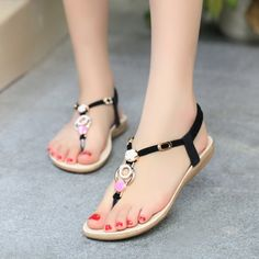 614eab712a951 Women Sandals 2015 Open Toe Summer Shoes Women Flat Sandals Beading Ladies  Shoes Solid Slip On