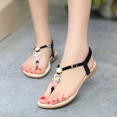 8035d1528a26d Women Sandals 2015 Open Toe Summer Shoes Women Flat Sandals Beading Ladies  Shoes Solid Slip On