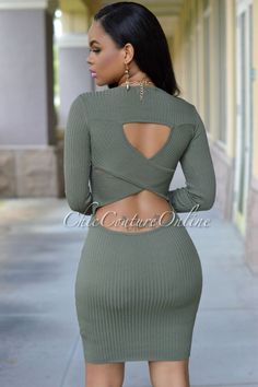 6bf8b9cf06fad Chic Couture Online - Morgan Olive Green Cut-Out Back Knit Dress, (http