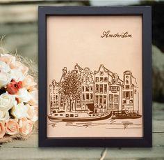 Lik181 Leather Engraved Netherlands Amsterdam street Honeymoon third anniversary personalized gift