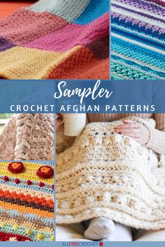 12 Free Crochet Sampler Afghan Patterns - You'll find crochet sampler squares as well as full size afghan patterns in this collection. A throw with a lot of texture can make a stunning decor piece. Crochet Sampler Afghan Pattern, Afghan Crochet Patterns, Baby Patterns, Crochet Afghans, Crochet Blankets, Tunisian Crochet, Knit Crochet, Crochet Baby, All Free Crochet