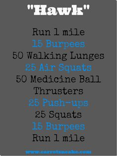 """HAWK full body workout with running and bodyweight exercises. Might need a medicine ball for thrusters trainieren mit geräten 10 Miles + """"Hawk"""" WOD Crossfit Workouts At Home, Wod Workout, Treadmill Workouts, Insanity Workout, Beach Workouts, Running Workouts, Track Workout, Workout Routines, Workout Fitness"""