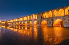 An image of Si-o-se Pol, one of 11 spectacular bridges in the city of Isfahan, Iran. Completed in 1602, the structure is nearly 1,000 feet long.