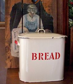 Enamelware Bread box....  Claudia WANTS THIS!!!!!!