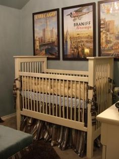 Cole's Vintage Travel Nursery Theme - Baby Boy Nursery in Chocolate Brown Blue Cream and Gold: The inspiration for Cole's room were the vintage airline posters that we found online with scenes from Chicago, San Francisco as well as Braniff.   Buy