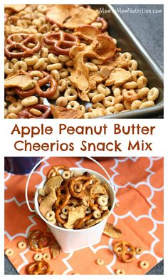 Combine the flavors of fall with this simple, crunchy apple peanut butter Cheerios snack mix. Made with Honey Nut Cheerios, dried apple chips, and peanut butter chips! Dried Apple Chips, Dried Apples, Healthy Snacks For Kids, Good Healthy Recipes, Vegetarian Recipes, Kid Snacks, Snacks Recipes, School Snacks, Healthy Eats
