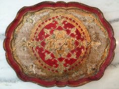 Vintage Red and Gold Italian Florentine Scalloped Tray | eBay