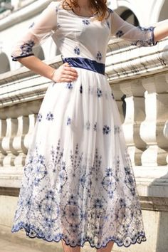 Scoop Neck Embroidery Embellished Women's Voile Dress in blue and white.  Dreamy!