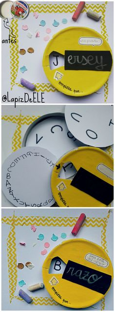 School spanish vocabulary DIY wheel.  Recicla una caja de quesitos para practicar lectoescritura, vocabulario, comprensión oral...!