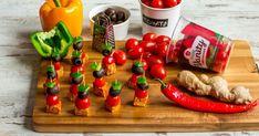 Koreczki z marynowanego tofu i pomidorów | Recipe Mad Cook, Tofu, Chili, Cherry, Fruit, Cooking, Kitchen, Chile, Prunus
