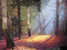 Sunbeam by Viktor Bykov Landscape Illustration, Watercolor Landscape, Watercolor Paintings, Fantasy Landscape, Landscape Art, Landscape Paintings, Environment Concept Art, Environment Design, Traditional Paintings