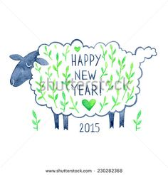 greeting card with a green sheep chinese new year 2015 greeting card happy new year greeting card with a sheep happy new year watercolor illustration